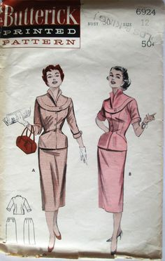 Butterick 6924 Women's 50s Two Piece Dress: Decorative Band, Slim Skirt Sewing Pattern Size 12 Bust 30