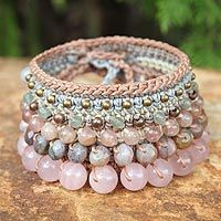 Rose quartz and pink aventurine wristband bracelet, 'Bangkok Rose'