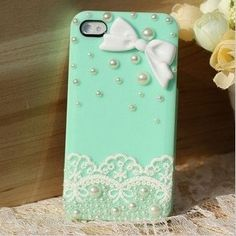 White Lace & Ivory Butterfly Decorated Iphone 4/4s Case by LDnest, $15.50