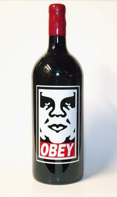 A 3 liter etched and painted wine bottle for Shepard Fairey
