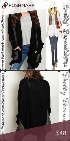 """NWT Black Gray Knit Open Front Slouchy Cardigan NWT Black Gray Knit Open Front Slouchy Cardigan  Available in S, M, L Measurements taken from a Small Length: 30"""" Bust: 50"""" Waist: 50""""  Acrylic/Poly/Spandex   * Available in Tan Combo in separate listing   Features  • oversized slouchy, cozy fit • open front • slit sides • long sleeves • two toned / color block design w/cable knit pattern • soft, breathable material  Fair offers welcome-Plz use offer option  Bundle discounts available  No pp or…"""