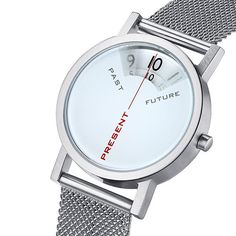 Past-Present-Future Watch: Past, Present, Future is a 33mm unisex watch (1 1/3″) that's also available in 40mm. The case is solid stainless steel and is water-resistant to 100ft.
