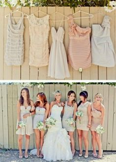 Mismatching bridesmaid dresses. Love this idea
