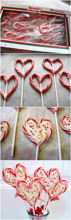 Your Ultimate Guide To Christmas Cooking With Kids - 50 Festive Food Ideas And Recipes For Children. So many great Christmas Ideas, but the candy cane hearts would be great for Valentines Day too! Noel Christmas, Christmas Goodies, Christmas Candy, Christmas Desserts, Holiday Treats, Christmas Treats, Holiday Fun, Holiday Recipes, Thanksgiving Holiday