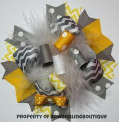 Yellow and Grey Hair Bow Chevron Funky Loopy Yellow and Gray Hairbow Boutique Hairbows Hair bows Over the top bow on Etsy, $10.99