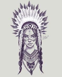 Cherokee Indian Tattoos, Indian Women Tattoo, Indian Girl Tattoos, Indian Feather Tattoos, Indian Tattoo Design, Native American Drawing, Native American Tattoos, Native Tattoos, Girl Face Drawing