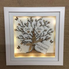 Personalised LED lights Deep Box Frame Family tree New Home House Warming Gift 3d Box Frames, Box Frame Art, Deep Box Frames, Shadow Box Frames, Diy Frame, Family Tree Frame, Family Trees, Shadow Light Box, Diy Xmas Gifts