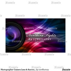 Photography business card pinterest photography business cards photographer camera lens aurora photography business card reheart Images