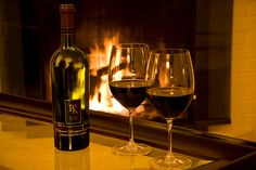 One of my favorite things to do in the winter is snuggle up by the fire with some red wine. :)