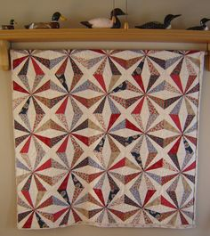 Wedding quilt - custom made! Creator was sorry to see this one leave her house! Blue Quilts, Star Quilts, Scrappy Quilts, Easy Quilts, Quilt Blocks, String Quilts, Hanging Quilts, Quilting Designs, Quilting Ideas
