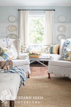 wing chair drop cloth slipcovers - Miss Mustard Seed-LOVE the wall color and the drop cloth slip covers:) Cottage Living Rooms, Shabby Chic Living Room, Cottage Interiors, Farmhouse Style Decorating, Cottage Decorating, Cottage Ideas, Cozy Cottage, Shabby Cottage, Coastal Cottage