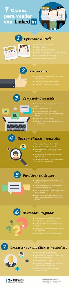 7 Claves para vender por Linkedin  #infografia #infographic #marketing