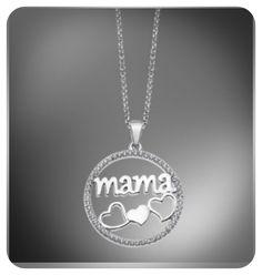 458111ca5564 Colgante de mujer en plata 925mm con la palabra mama y corazones.