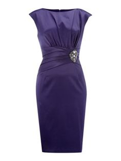 In House of Fraser Sale £60 Eliza J Satin dress with capped sleeves & jewelled waist Purple - House of Fraser