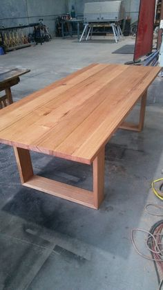 Recycled messmate dining table with wooden legs table plan Wooden Outdoor Table, Wooden Tables, Outdoor Dining, Outdoor Tables, Dining Room Table Legs, Timber Dining Table, Patio Table, Dining Chairs, Recycled Timber Furniture