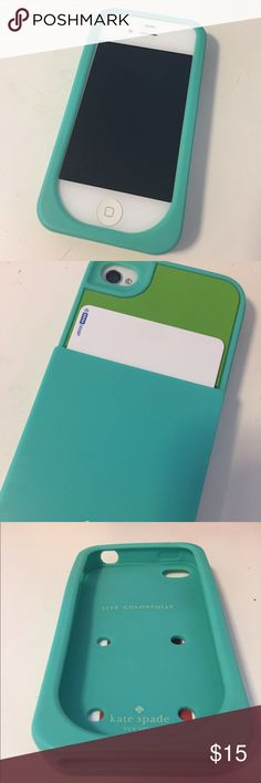 kate spade color block iPhone 4 case w card holder Blue and green silicone iPhone 4 case with card sleeve on the back - volume and power buttons as protected - everything else easily accessible - card sleeve fits up to 4 cards easily kate spade Accessories Phone Cases