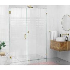 "VIGO Elan 64"" W x 74"" H Single Sliding Frameless Shower Door with RollerDisk™ Technology & Reviews | Wayfair Frameless Shower Doors, Glass Shower Doors, Glass Door, Bathtub Doors, Shower Walls, Cleaning Shower Glass, Glass Shower Enclosures, Thing 1, Chrome Handles"