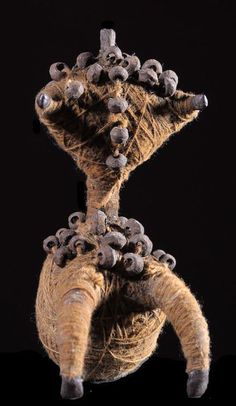 Africa | Protective fetish doll from the Fali people of Cameroon | Leather, fiber and beads | ca. 1970s