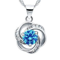 Valentines Day Gift for Her Sterling Silver Flower Pendant Necklace Womens Girls #ValentinesJewerly