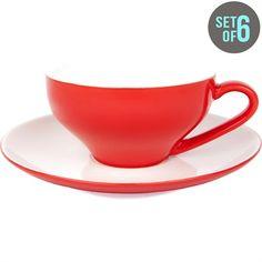 New Bone China Set Of 6 Tea Cups - 230Mls Capacity