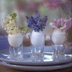 Des oeufs revisités en vases // eggs, vases, decoration, table, food