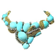 Important Natural Turquoise, Diamond and Gold Necklace