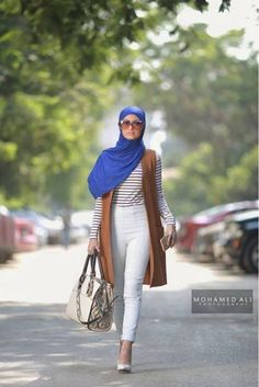 Tan vest white pants- striped tee- -Long cardigans and vests hijab trends http://www.justtrendygirls.com/long-cardigans-and-vests-hijab-trends/