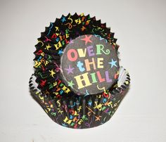 24 Over the Hill Cupcake Liners, Black Birthday Cupcake Papers, Party Cups, 30th 40th 50th 60th Birthday Party.