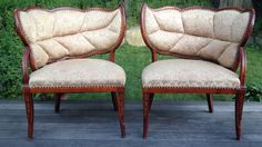 Antique Rare Maison Jansen Tree Leaf Chairs Pair Vtg French Provincial Louis XV