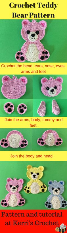 If you would like to learn how to crochet this teddy bear appliqué go to Kerri's Crochet for the free pattern and video tutorial.