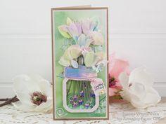 Joanna Wiśniewska: Amazing Paper Grace March Die of the Month Blog Hop – Mini 3D Vignette Floral Mason Jar Jane Davenport Watercolors, Paper Art, Paper Crafts, Foam Adhesive, Shaker Cards, Blooming Flowers, Watercolor Paper, Vignettes, I Card
