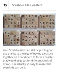 Words of scrable tile coasters. Scrabble Letter Crafts, Scrabble Coasters, Scrabble Art, Scrabble Tiles, Tile Coasters, Diy Holiday Gifts, Christmas Crafts, Christmas Ideas, Craft Gifts