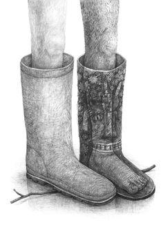 Home: Stefan Zsaitsits Ken Wong, Surrealism Drawing, Drawing Legs, Children's Book Illustration, Book Illustrations, Portraits, Bearpaw Boots, Watercolor Print, Pencil Drawings