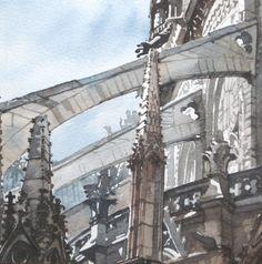 Paul Dmoch Watercolor Landscape, Watercolor Paintings, Watercolours, Plan Paris, Flying Buttress, Gothic, Art Sketchbook, Amazing Art, Opera