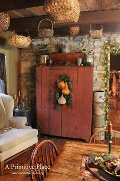 Primitive Homes Country Living Room Kitchen Decor Cabinets Prim Farmhouse