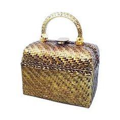 49ecccf6b974 Rodo Gilt Lacquered Wicker Handbag 1970s Novelty Bags