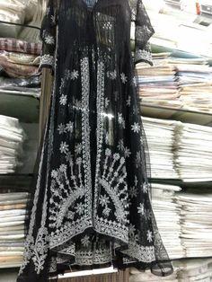 Kalidar Anarkali Chikan_Kari On Black Net [*Sfq*]. Doll Dresses, Maxi Dresses, Chikankari Suits, Kurta Designs Women, Kurtis, Anarkali, Handicraft, Tunics, Sarees