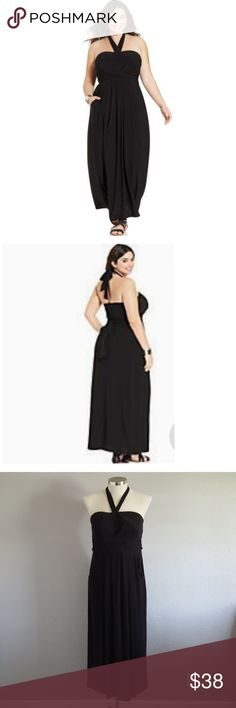 Love Squared Plus Size Pocketed Halter Maxi Dress Dress features:  halter neckline  open back with elastic pullover dress Maxi length empire waist pockets back strap  lightweight 96% Polyester 4% Spandex Love Squared Dresses