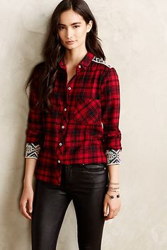 patched plaid flannel button down, pair with boyfriend jeans and a black blazer #anthrofave