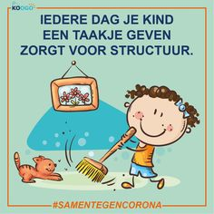 Iedere dag je kind een taakje geven zorgt voor structuur. Kind, Peanuts Comics, Art, Art Background, Kunst, Performing Arts, Art Education Resources, Artworks