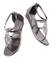 "Metallic Shine Gladiator Sandal - SO Cute! $29.99  Leatherlike upper. Heel zipper. 11/4"" H heel. Skid-resistant sole. Whole sizes only. Half sizes, order one size up.  ORDER at www.YourAvon.com/cvmack"