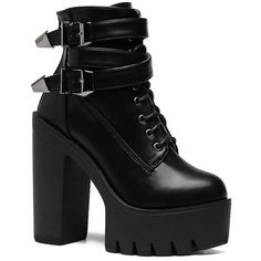 Double Buckle Platform Zipper Short Boots (€42) ❤ liked on Polyvore featuring shoes, boots, ankle booties, heels, botas, platform heel booties, platform ankle booties, platform heel boots, heeled bootie and short heel boots