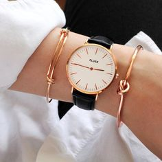 These rose gold accents are making it so hard to not fall in love with them   Create your own chic-yet-modern look starting from your wrist!  #CLUSE #gorgeousdetails @albertandamphora
