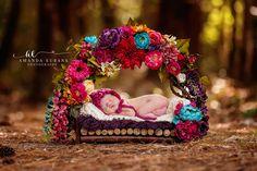 Outdoor Newborn Photographer, Intuition Backgrounds Prop, Twig Bed Prop, Flower Bed Prop, Santa Rosa Beach Photographer, Amanda Eubank Photography