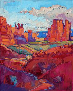 Arches National Park impressionist landscape painting by artist Erin Hanson i wanna eat the colors Impressionist Landscape, Landscape Paintings, Watercolor Paintings, Abstract Landscape, Impressionist Artists, Spring Landscape, Desert Landscape, Mountain Landscape, Painting Abstract