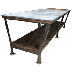 Drapery Table  Belgium  1940's  industrial drapery table, top level is a zinc/galvanised old used top