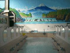 Japanese Sento. A beautiful bath house. Usually the women & men have separate rooms. Some bathes will have men & women together. It is accepted in Japan. Japanese are very respectful and no attention is paid to others bathers.