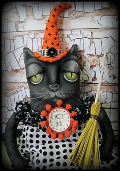 OOAK Folk Art Halloween Primitive Black Cat Witch Art Doll by Hip Heart Studio | eBay