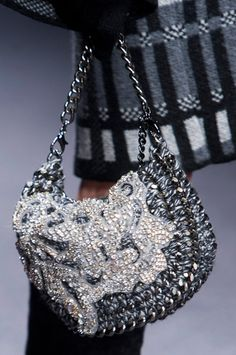 Laura Biagiotti F/W '13 | knit / crochet embellished bag