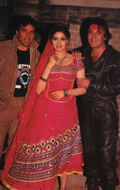 with DHARMENDRA AND SRI DEVI